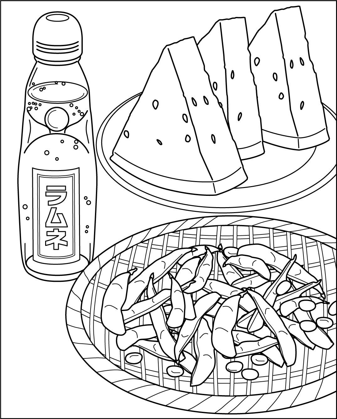 ラムネとスイカと枝豆